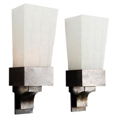 Kiko Lopez, Pair of Wall Sconces in Glass and Steel, France, 2000