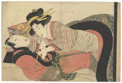 Eizan, Early 19th Century, Original Japanese Woodblock Print, Suggestive, Erotic