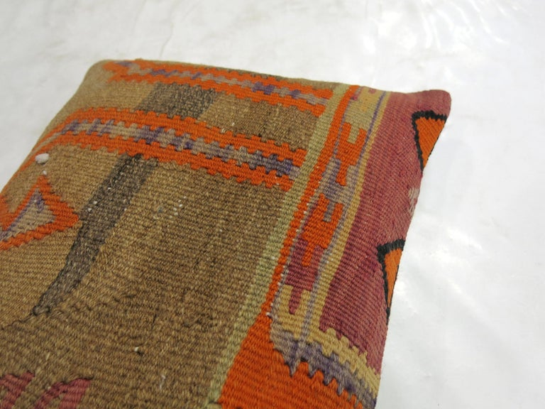 Pillow made from an antique Turkish Kilim flat-weave.