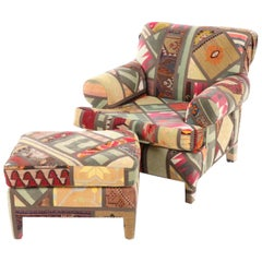 Kilim Clad Custom Handmade Armchair, Lounge with Ottoman, Santa Fe, New Mexico