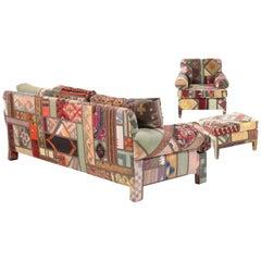 Kilim Clad Custom Handmade Sofa and Armchair with Ottomon, Santa Fe Modern 1992