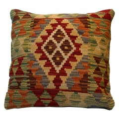 Kilim Cushion Cover Handwoven Green Brown Wool Scatter Pillow Cover