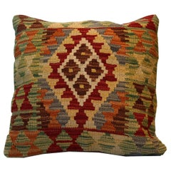 Kilim Decorative Pillow, Bench Cushion Cover Rose Cut Pillow Case Hand Knotted