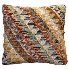 Kilim Decorative Striped Pillow, Bench Cushion Cover Zipper Cushion