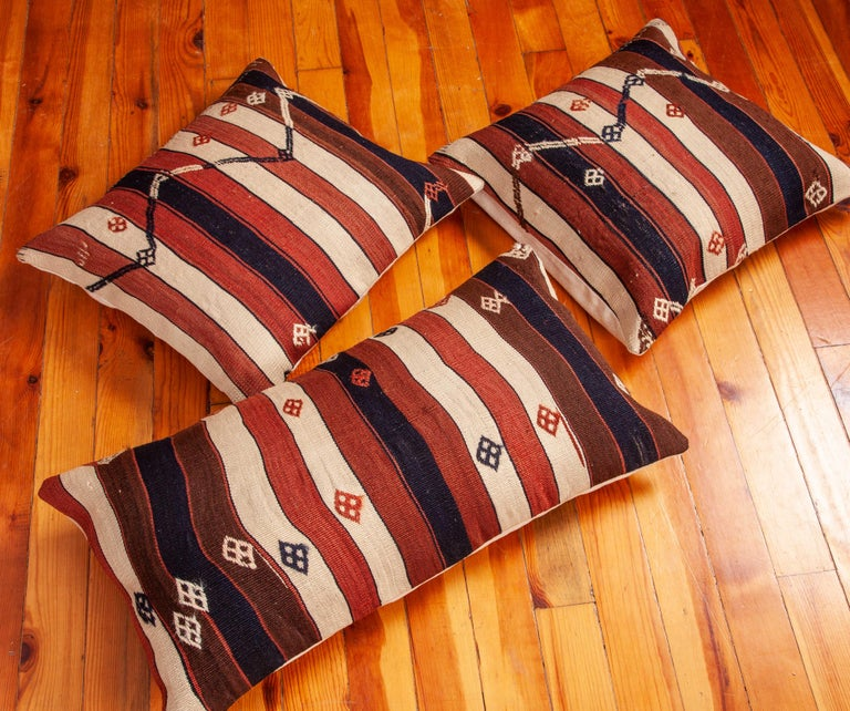 Kilim Pillow Cases Fashioned from an Eastern Anatolian Kilim, Early 20th Century For Sale 3