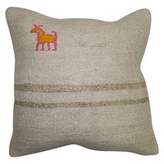 Kilim Pillow with Pink and Gold Animal Figure