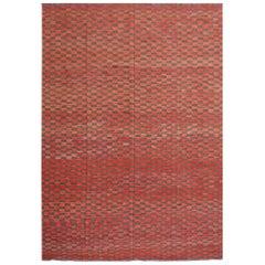 Kilim Rug Contemporary Modern Brick Red Olive Green Flat-Woven Carpet Ariana