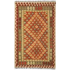 Kilim Rug Handwoven Carpet Orange Wool Kilims Carpet