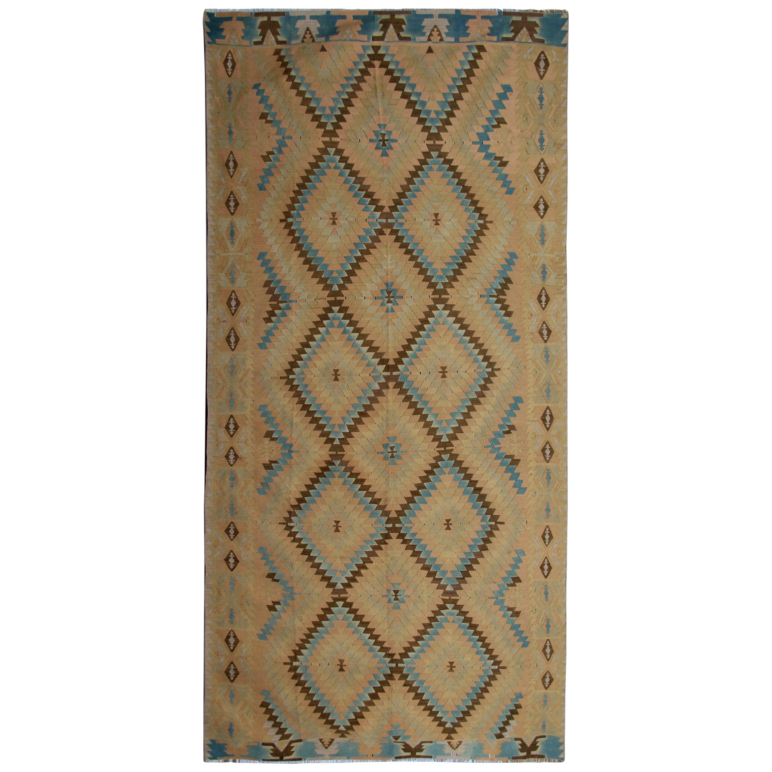 Oriental Rug Yellow Geometric Kilim Rug Traditional Antique Runner Rug