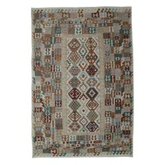 Kilim Rugs, Traditional Rugs Design, Primitive Grey Rug Carpet from Afghanistan