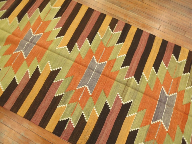 Hand-Knotted Kilim Runner For Sale