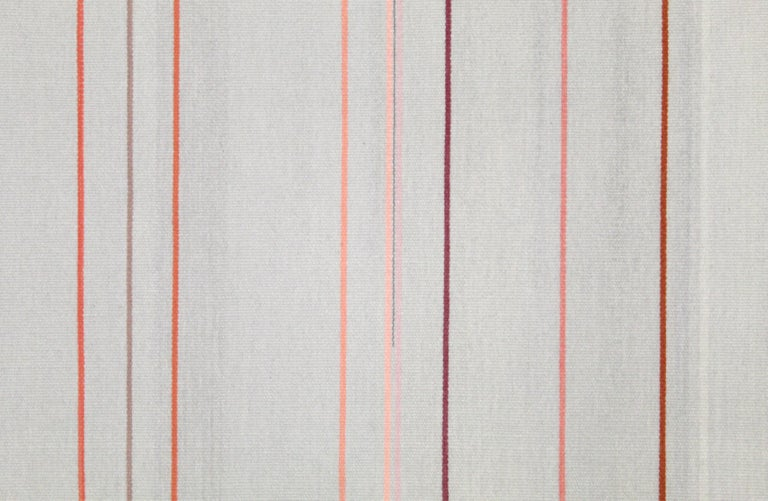 Contemporary Handwoven Wool Rug Pink and Gray Toned Kilim Tapestry 2