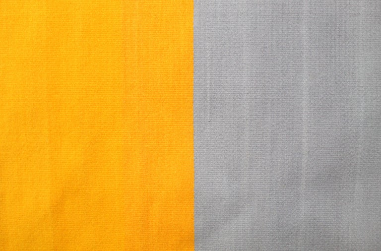 Yellow and Grey Toned Wool Handwoven Rug Kilim or Tapestry 5