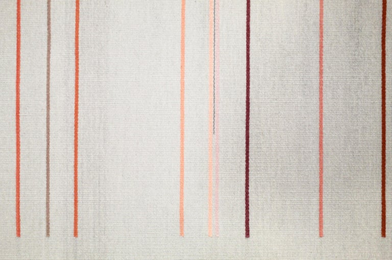 Contemporary Handwoven Wool Rug Pink and Gray Toned Kilim Tapestry 5