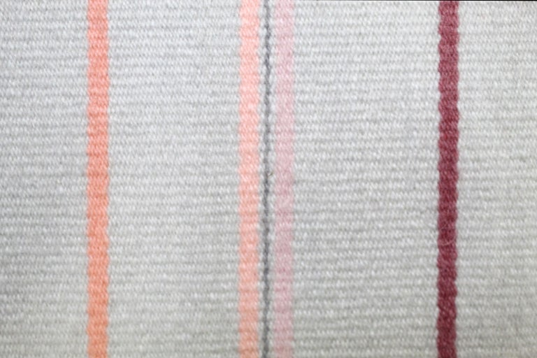 Contemporary Handwoven Wool Rug Pink and Gray Toned Kilim Tapestry 6