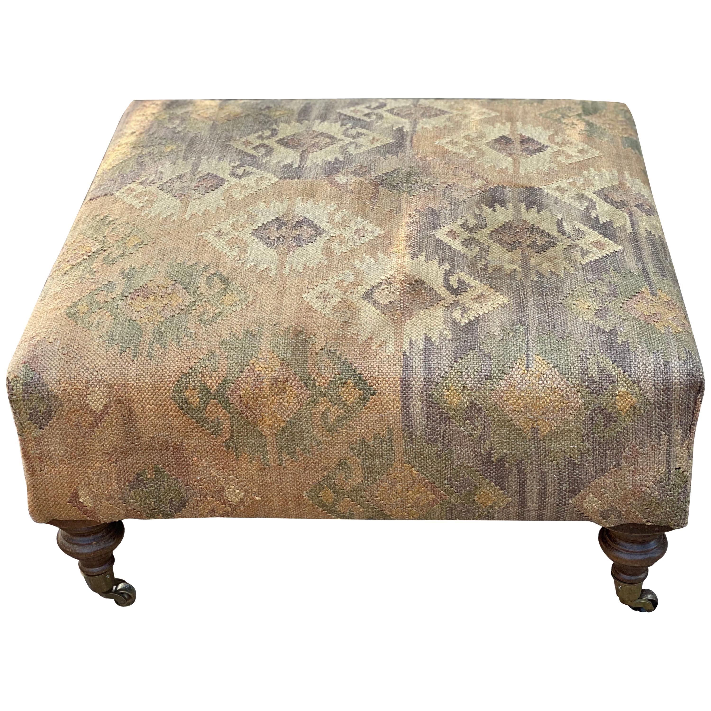 Kilim Upholstered Ottoman/Coffee Table