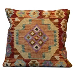 Kilims Cushion Cover Geometric, Brown Traditional Handmade Kilim Scatter Pillow