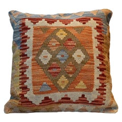 Kilims Scatter Cushion Cover Handwoven Orange Wool Geometric Pillow Case