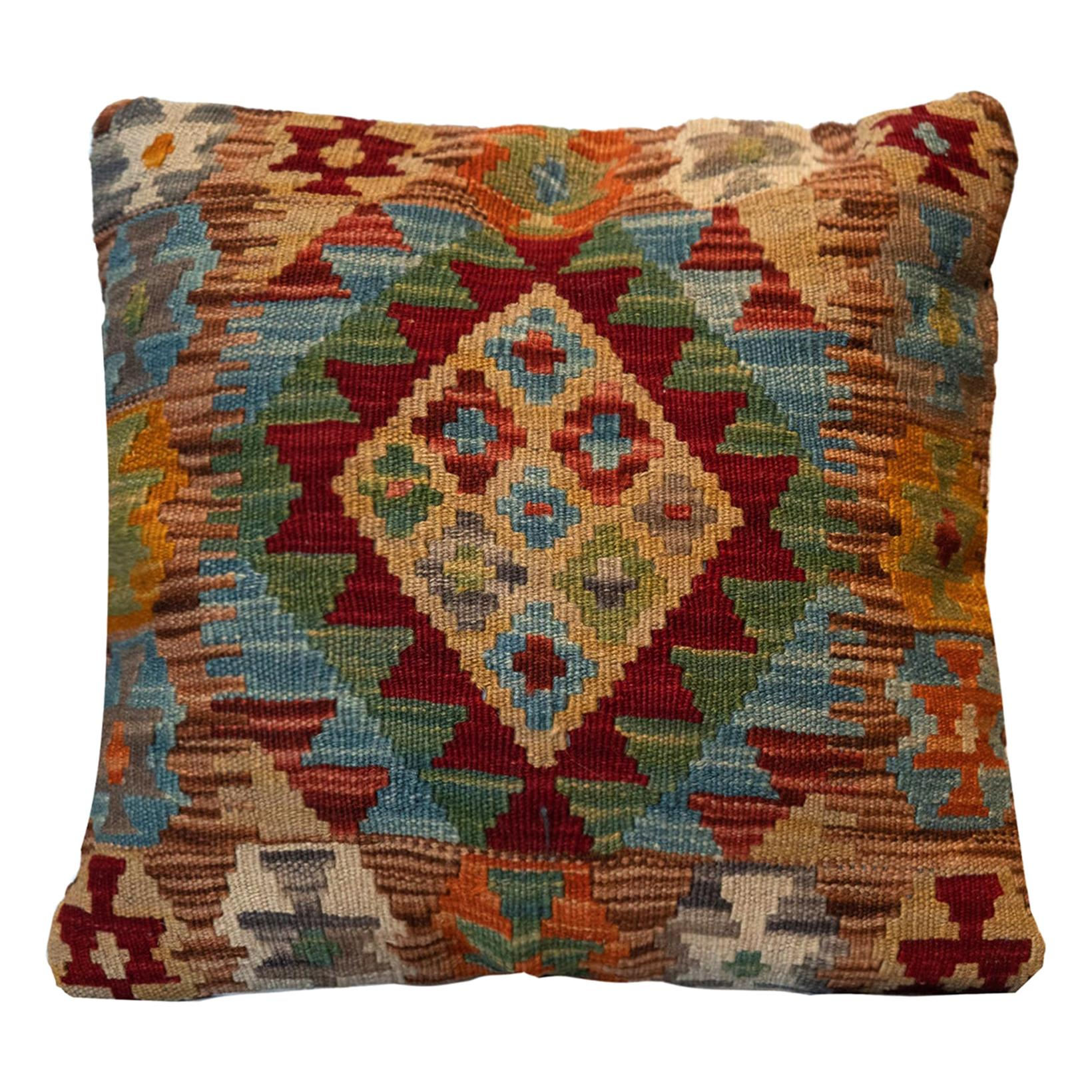 Kilims Wool Cushion Cover, Handmade Oriental Scatter Pillow Case