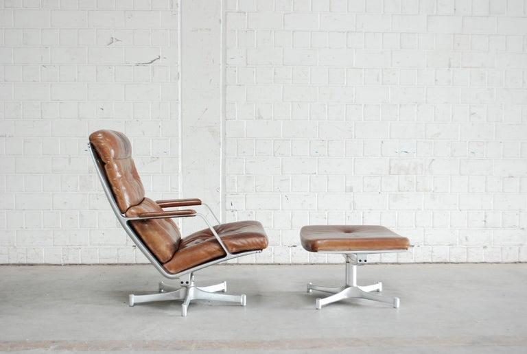 German Kill International FK 85 Lounge Chair Cognac Leather design Kastholm / Fabricius For Sale