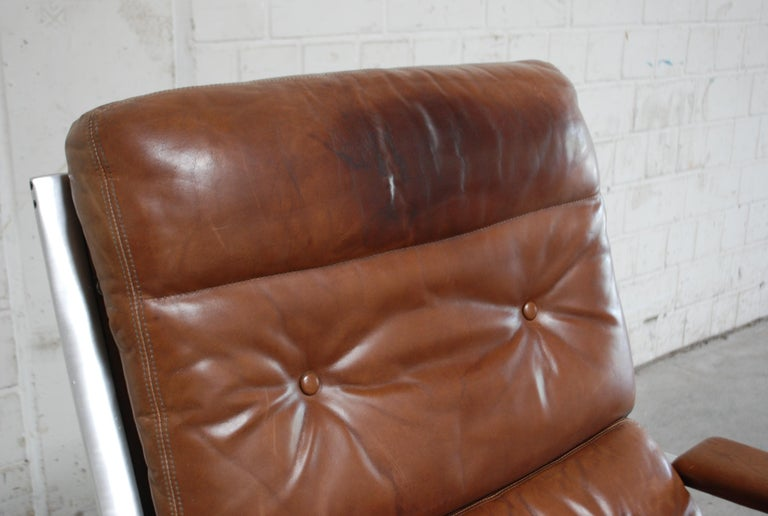 Kill International FK 85 Lounge Chair Cognac Leather design Kastholm / Fabricius In Fair Condition For Sale In Munich, Bavaria