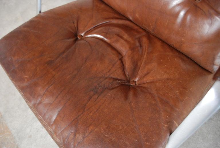 Aluminum Kill International FK 85 Lounge Chair Cognac Leather design Kastholm / Fabricius For Sale