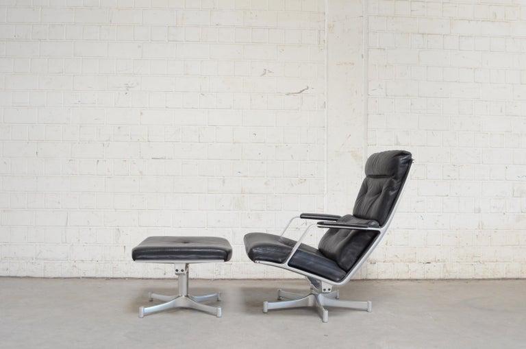Mid-Century Modern Kill International FK 85 Lounge Chair Cognac Leather Design Kastholm / Fabricius For Sale