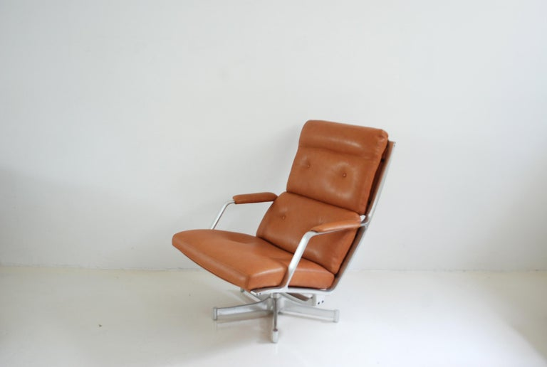 German Kill International FK 85 Lounge Chair Cognac Natural by Kastholm & Fabricius For Sale