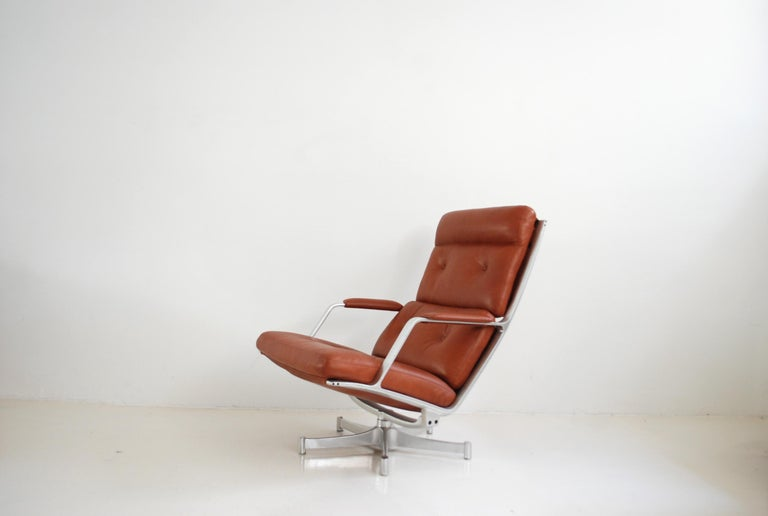 Kill International FK 85 Lounge Chair Red Cognac by Kastholm & Fabricius For Sale 8