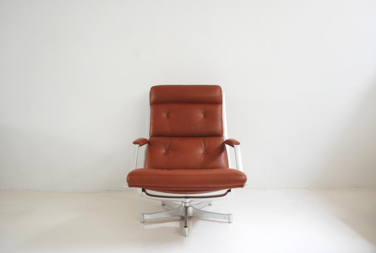 Mid-Century Modern Kill International FK 85 Lounge Chair Red Cognac by Kastholm & Fabricius For Sale