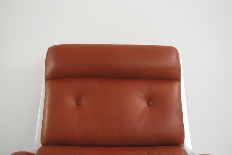 German Kill International FK 85 Lounge Chair Red Cognac by Kastholm & Fabricius For Sale