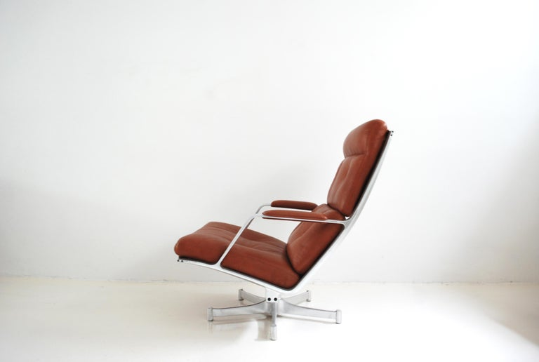 Aluminum Kill International FK 85 Lounge Chair Red Cognac by Kastholm & Fabricius For Sale