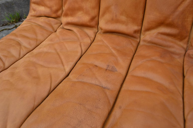 Kill International Germany Vintage Sectional Lounge Cognac Leather Sofa, 1960s For Sale 5
