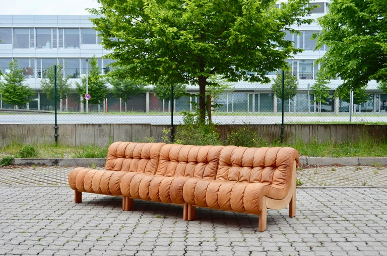 Kill International Germany Vintage Sectional Lounge Cognac Leather Sofa, 1960s In Good Condition For Sale In Munich, Bavaria