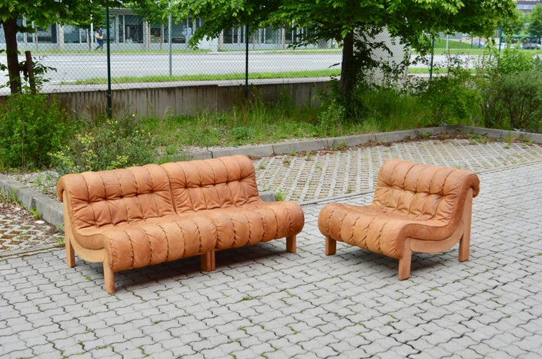 Upholstery Kill International Germany Vintage Sectional Lounge Cognac Leather Sofa, 1960s For Sale