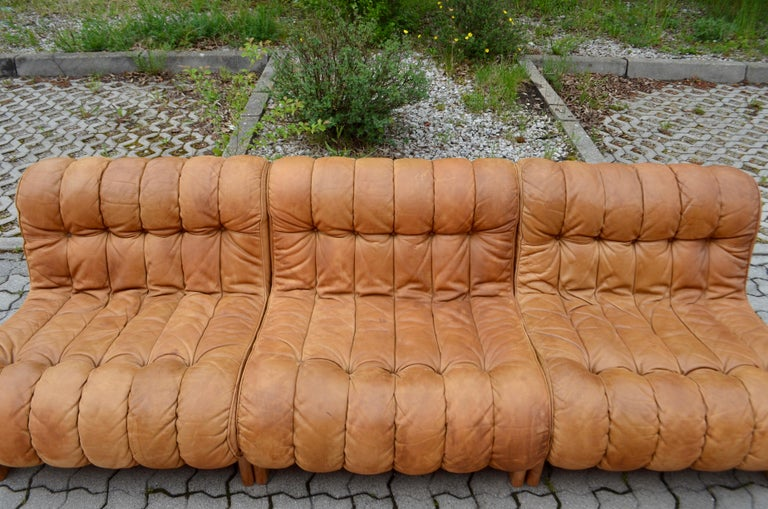 Kill International Germany Vintage Sectional Lounge Cognac Leather Sofa, 1960s For Sale 2