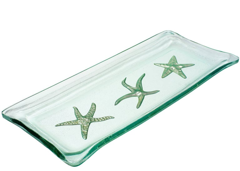 Post-Modern Kiln-Formed Art Glass Tray with White Gold Starfish For Sale