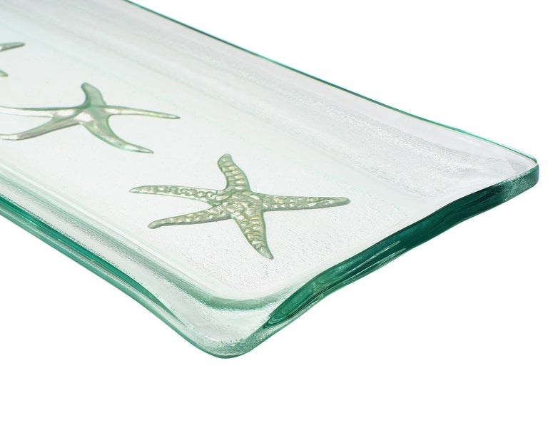 American Kiln-Formed Art Glass Tray with White Gold Starfish For Sale