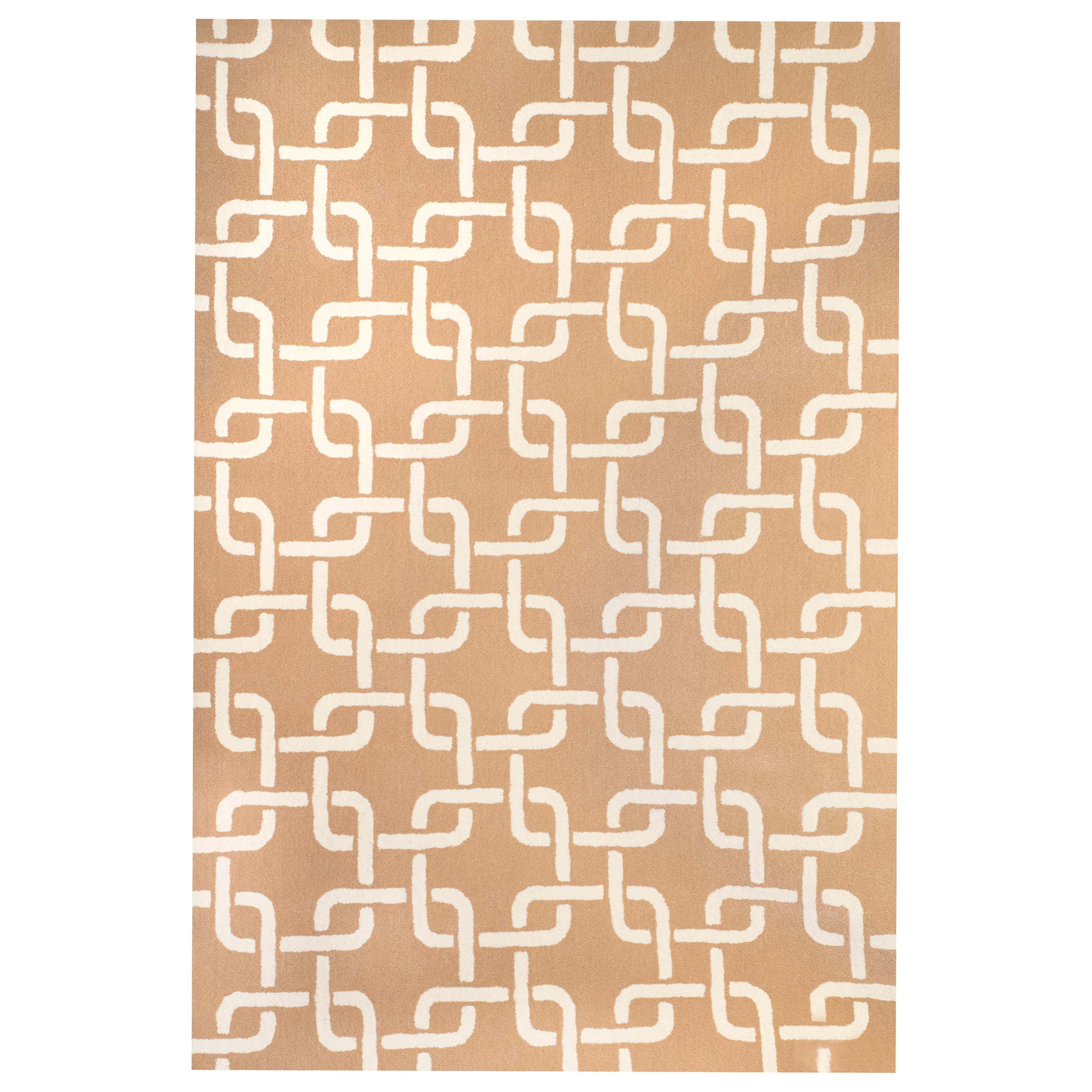 Kilombo Home 21st Century Hand Tufted Wool Rug Made in Spain Beige & White Chain