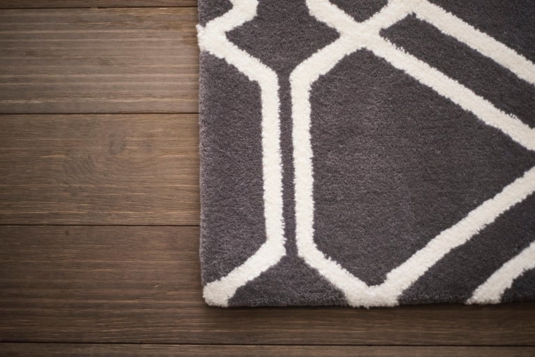 Modern Kilombo Home 21st Century Hand Tufted Wool Rug Made in Spain Brown Geometric For Sale