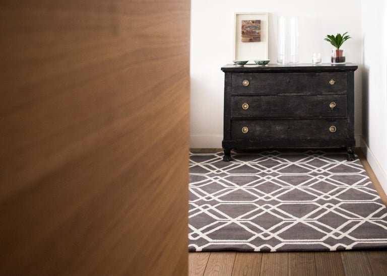 Spanish Kilombo Home 21st Century Hand Tufted Wool Rug Made in Spain Brown Geometric For Sale