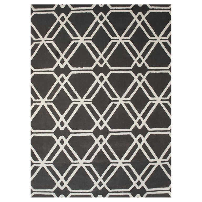 Kilombo Home 21st Century Hand Tufted Wool Rug Made in Spain Brown Geometric For Sale