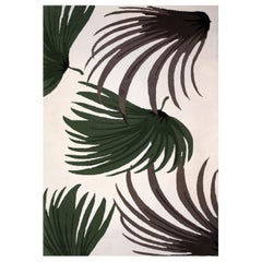 Kilombo Home 21st Century Hand Tufted Wool Rug Made in Spain Green Brown Palms