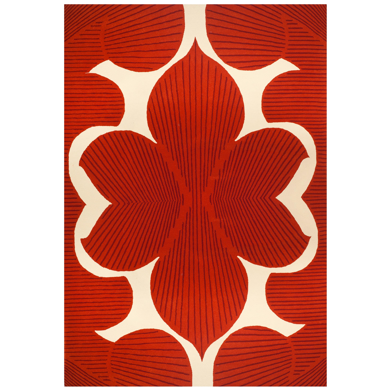 Kilombo Home 21st Century Hand Tufted Wool Rug Made in Spain Red Orange & White