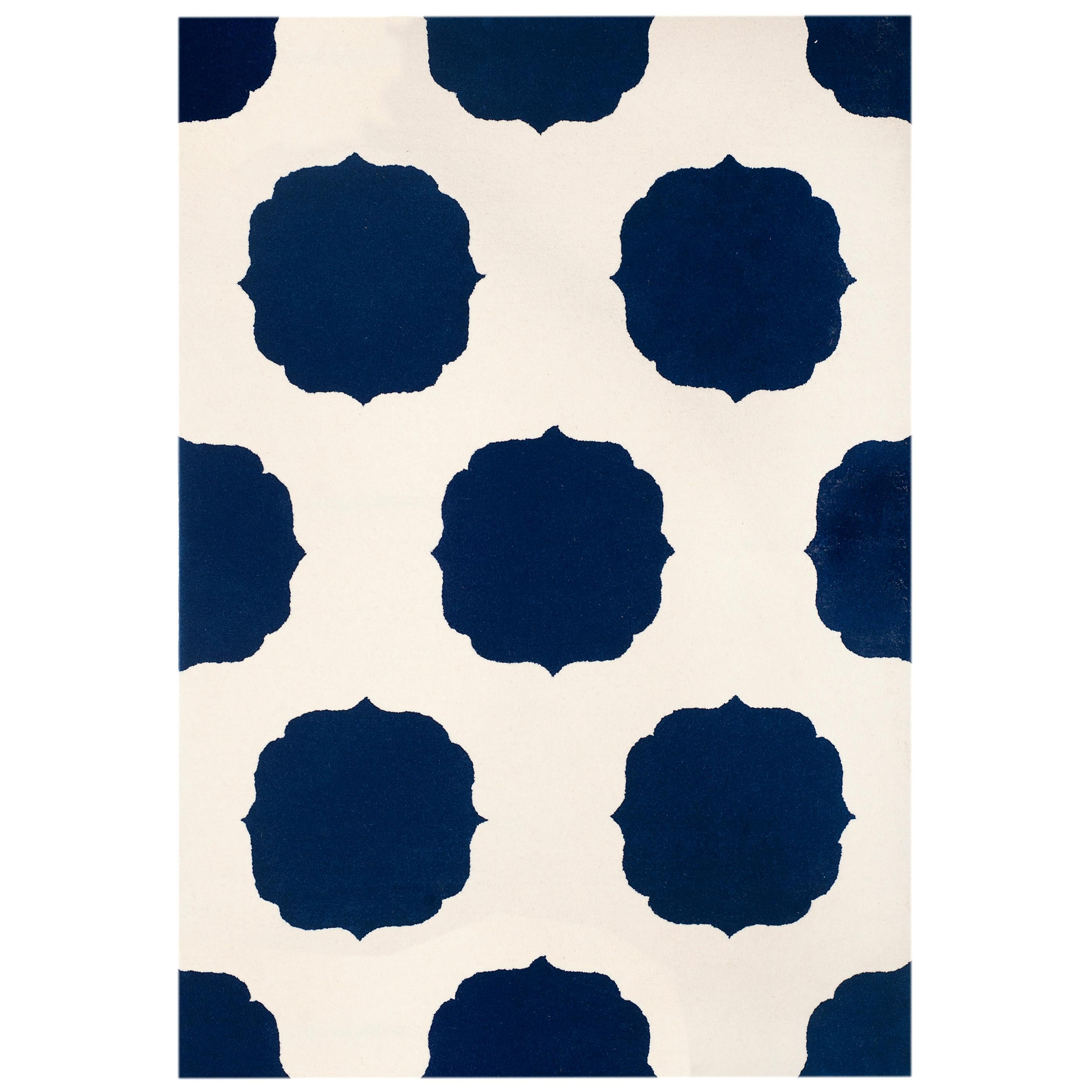 Kilombo Home 21st Century Hand Tufted Wool Rug Made in Spain White and Blue