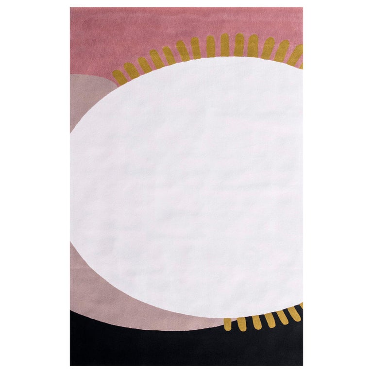Kilombo Home 21st Century Hand Tufted Wool Rug Made in Spain White Gold Blue For Sale