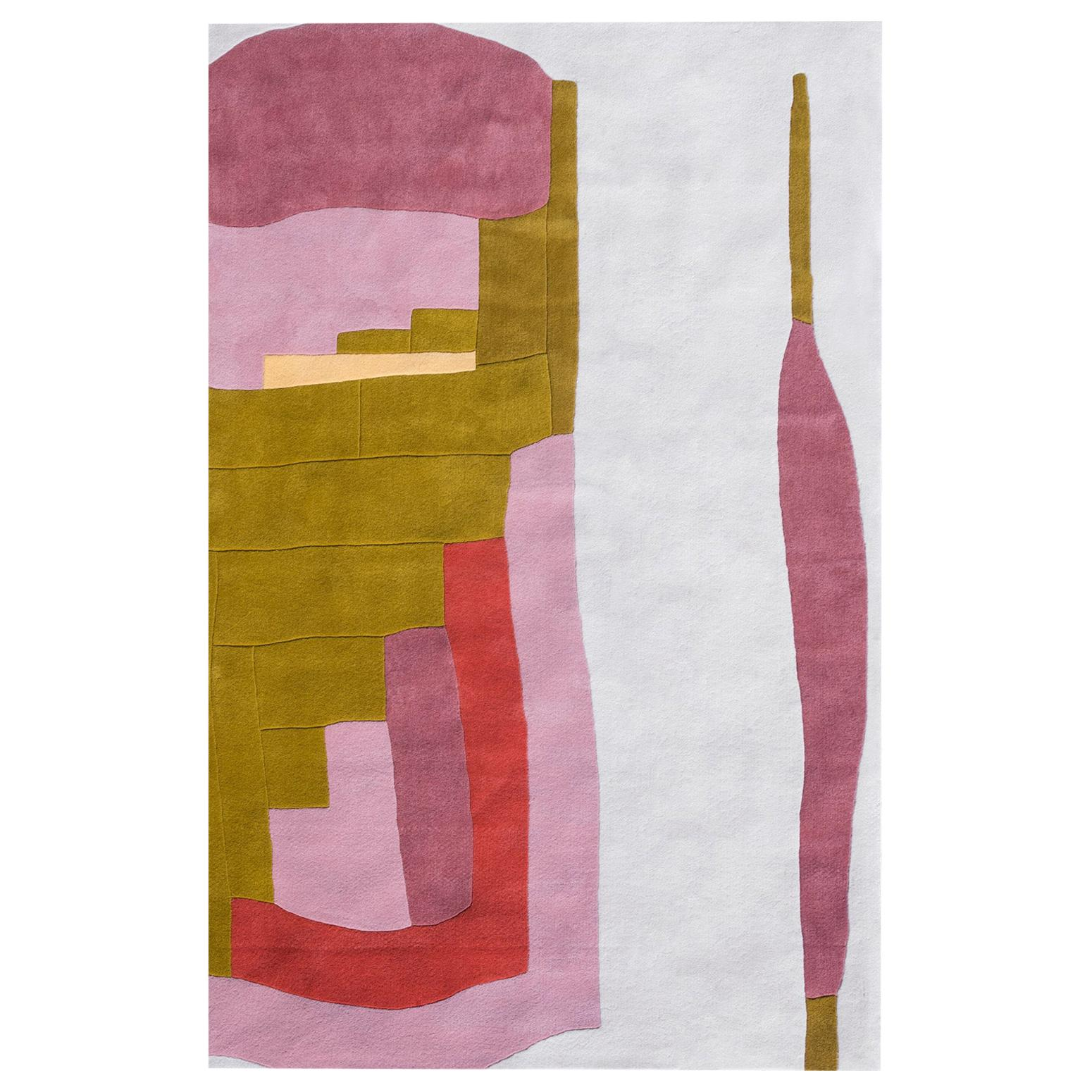 Kilombo Home 21st Century Hand Tufted Wool Rug Made in Spain White Gold Purple
