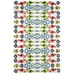 Kilombo Home 21st Century Hand Tufted Wool Rug Made in Spain White, Green&Blue