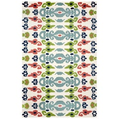 Kilombo Home 21st Century Hand Tufted Wool Rug Made in Spain White, Green & Blue