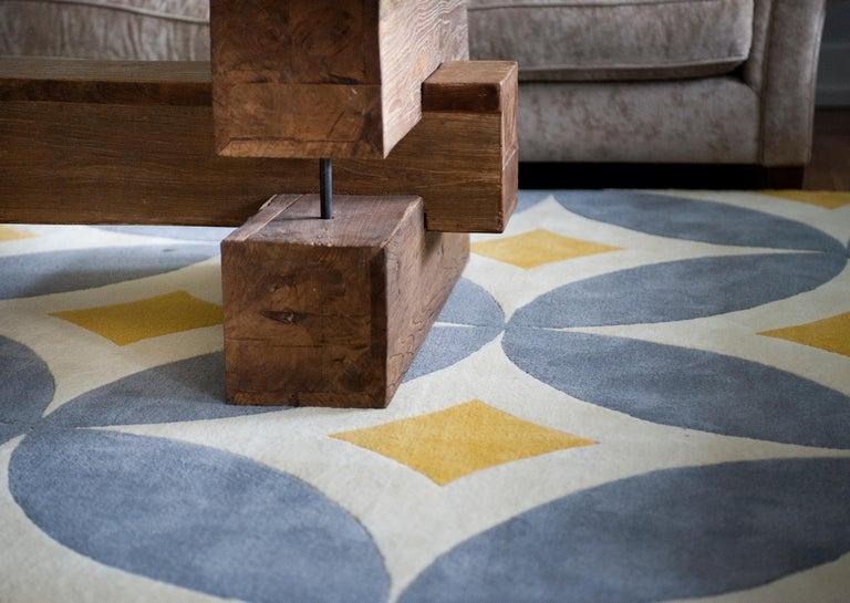 Hand-Crafted Kilombo Home 21st Century Hand Tufted Wool Rug Made in Spain Yellow Light Grey For Sale